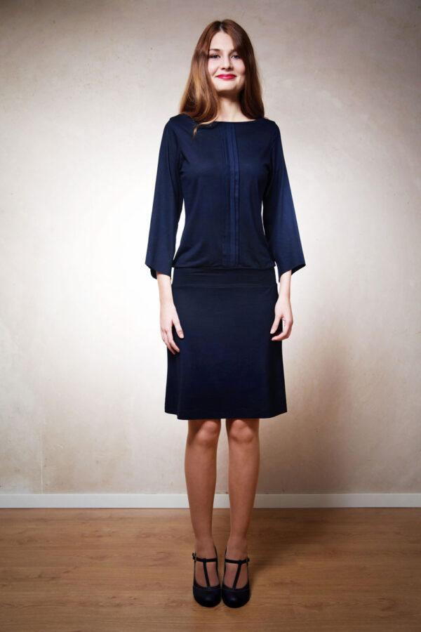 Puristisches Kleid Felia mit 3/4-Ärmeln nachtblau