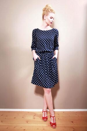 Polkadot Kleid Natalie marineblau-weiß