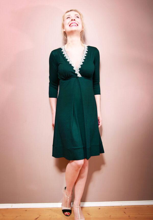 Empirekleid Gemma dunkelgrün